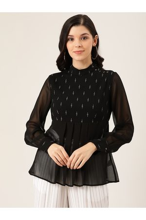 Quiero Women Black Printed Pleated A-Line Top