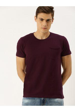 Moda Rapido Men Maroon Solid Round Neck T-shirt