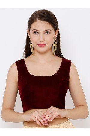 SALWAR STUDIO Women Maroon Solid Velvet Readymade Saree Blouse