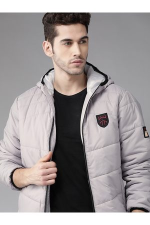 Roadster Men Grey Solid Hooded Padded Jacket