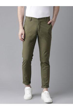 Hubberholme Men Olive Green Slim Fit Solid Regular Trousers