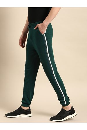 Ether Men Teal Green Slim Fit Solid Joggers With Side Stripe Detail