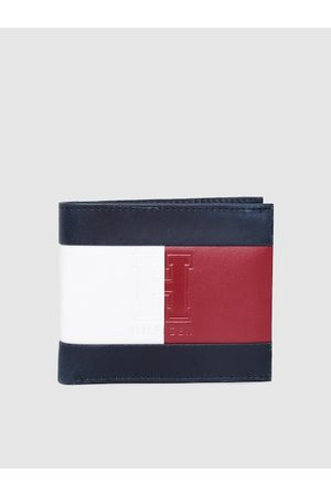 adidas Men Navy Blue & Red Colourblocked Leather Two Fold Wallet