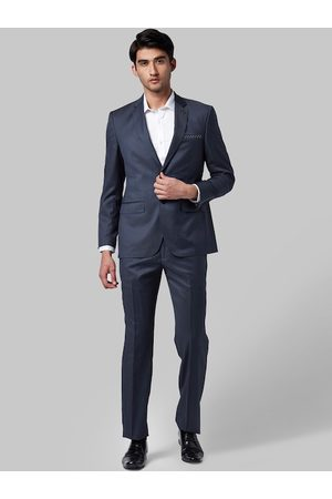 Park Avenue Men Blue Solid Single-Breasted Formal Suit