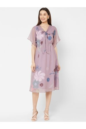 MISH Women Lavender Printed A-Line Dress