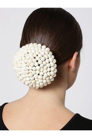 Priyaasi Off-White Floral Hair Bun Cover