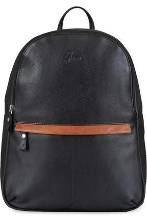 MAI SOLI Men Black Solid Leather Backpack