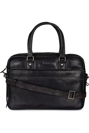 MAI SOLI Men Black Solid Leather Laptop Bag