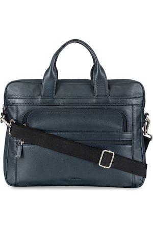 MAI SOLI Men Blue Textured Leather Laptop Bag