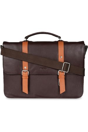 MAI SOLI Men Brown Solid Leather Laptop Bag