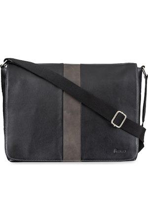 MAI SOLI Men Black & Grey Solid Leather Laptop Bag