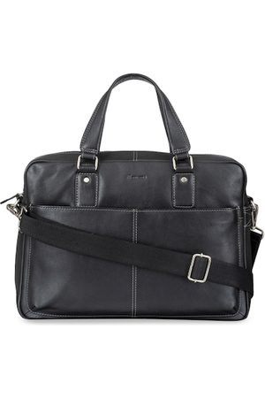 MAI SOLI Men Black Solid Leather Laptop Bag