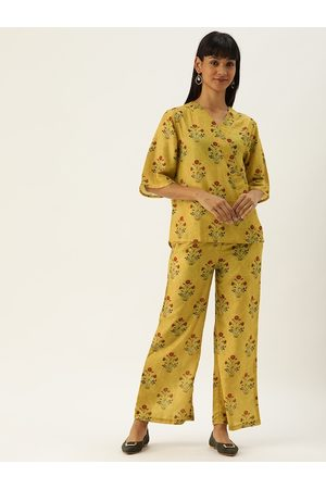 Clt.s Women 2 Pc Mustard Yellow & Red Floral Printed Night Suit Set