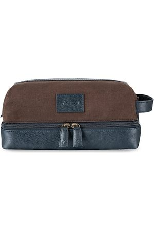 MAI SOLI Men Navy Blue & Brown Colourblocked Leather Toiletry Bag