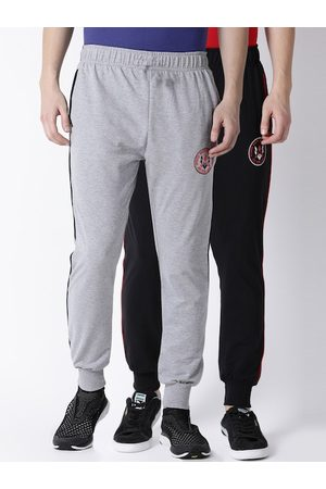 ACTIMAXX Men Pack Of 2 Solid Slim-Fit Joggers