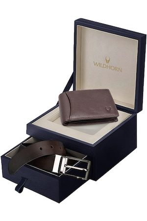 WildHorn Men Brown RFID Protected Genuine Leather Accessory Gift Set