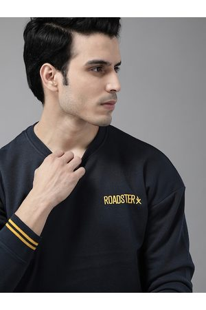 Roadster Men Navy Blue Solid Sweatshirt