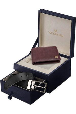 WildHorn Men Brown & Black RFID Protected Genuine Leather Wallet & Belt Accessory Gift Set