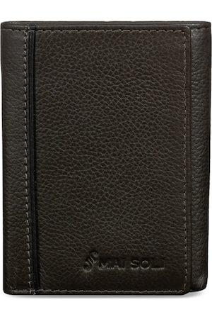 MAI SOLI Men Grey Solid Three Fold Leather Wallet