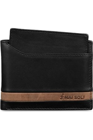 MAI SOLI Men Black Solid Two Fold Leather Wallet