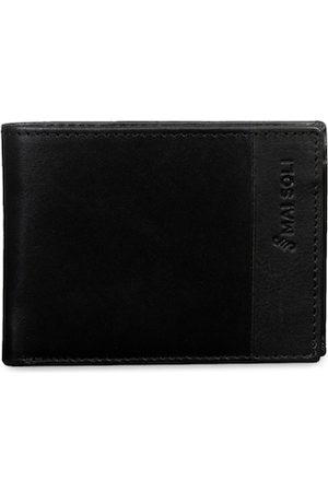 MAI SOLI Men Black Solid Slim Two Fold Leather Wallet