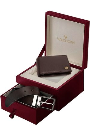 WildHorn Men Brown RFID Protected Genuine Leather Wallet & Belt Accessory Gift Set