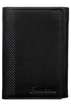 MAI SOLI Men Black Solid Three Fold Wallet