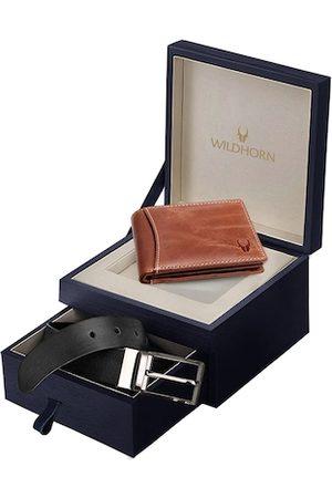 WildHorn Men Black & Brown Genuine Leather Accessory Gift Set