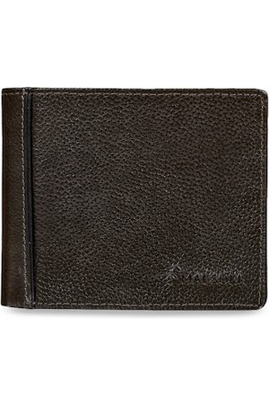 MAI SOLI Men Brown & Grey Solid Two Fold Leather Wallet