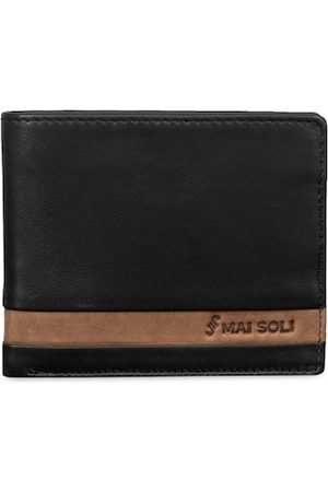 MAI SOLI Men Black Solid Leather Two Fold Wallet