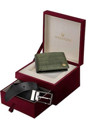 WildHorn Men Green & Black Genuine Leather Wallet & Belt Accessory Gift Set