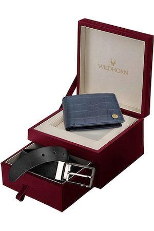 WildHorn Men Blue & Black RFID Protected Genuine Leather Wallet & Belt Accessory Gift Set