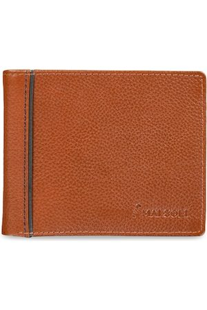 MAI SOLI Men Brown Solid Leather Two Fold Wallet
