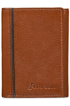MAI SOLI Men Brown Solid Leather Three Fold Wallet