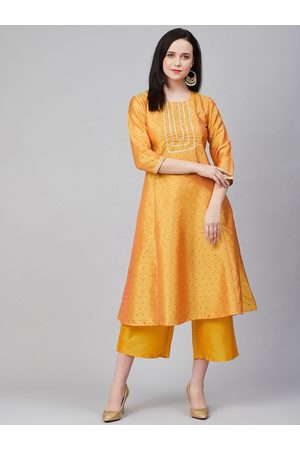 Bhama Couture Women Mustard Yellow & Black Woven Design Kurta with Palazzos