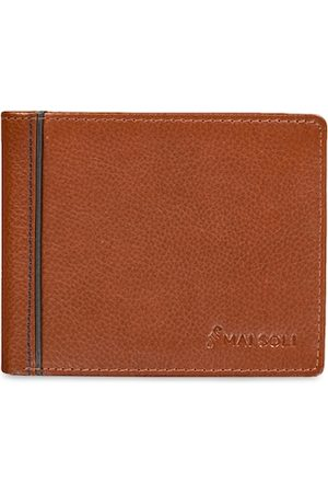 MAI SOLI Men Brown Solid Two Fold Leather Wallet