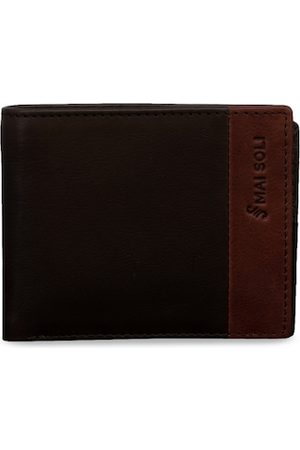 MAI SOLI Men Brown Solid Leather Slim Bi-Fold Two Fold Wallet