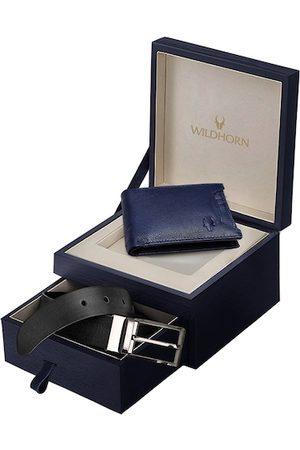 WildHorn Men Navy Blue & Black RFID Protected Genuine Leather Accessory Gift Set