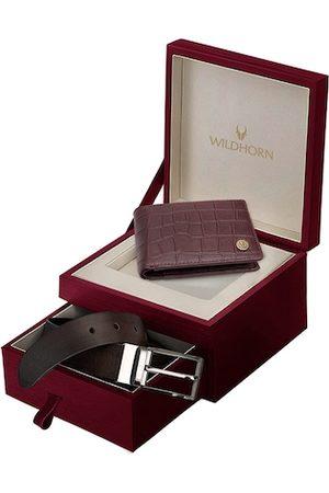 WildHorn Men Maroon Genuine Leather RFID Protected Wallet & Belt Combo Gift Set