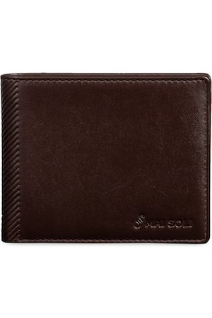MAI SOLI Men Coffee Brown Textured Two Fold Leather Wallet