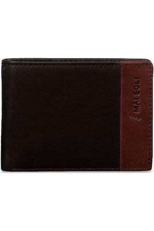 MAI SOLI Men Brown & Black Colourblocked Two Fold Leather Wallet