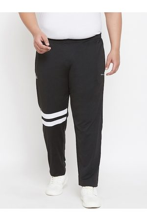 Bigbanana Plus Size Men Black Solid Antimicrobial Straight-Fit Track Pants