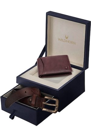 WildHorn Men Maroon & Brown RFID Protected Genuine Leather Accessory Gift Set