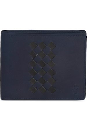Second Skin Men Navy Blue Woven Design Genuine Leather Two Fold Wallet