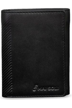 MAI SOLI Men Black Solid Leather Three Fold Wallet