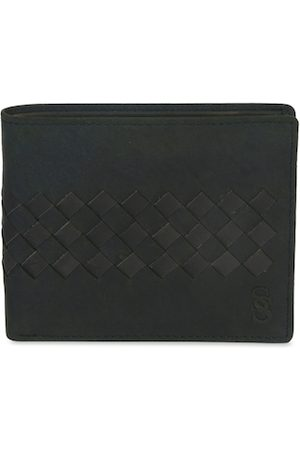 Second Skin Men Olive Green Textured Two Fold Leather Wallet