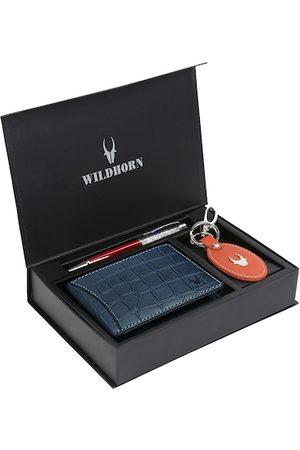 WildHorn Men Blue & Orange RFID Protected Genuine Leather Accessory Gift Set