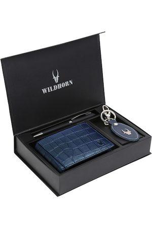 WildHorn Men Blue & Black RFID Protected Genuine Leather Wallet & Pen Accessory Gift Set