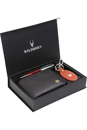 WildHorn Men Black & Orange RFID Protected Genuine Leather Wallet & Pen Accessory Gift Set