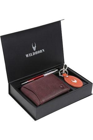 WildHorn Men Brown & Orange RFID Protected Genuine Leather Wallet & Pen Accessory Gift Set
